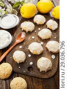 Купить «Lemon glaze cookies», фото № 29036796, снято 19 января 2018 г. (c) Надежда Мишкова / Фотобанк Лори