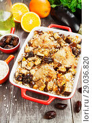 Купить «Chicken thigh baked with rice, eggplant and figs», фото № 29036820, снято 10 марта 2018 г. (c) Надежда Мишкова / Фотобанк Лори