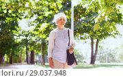 Купить «senior woman walking along summer park», видеоролик № 29037948, снято 21 августа 2018 г. (c) Syda Productions / Фотобанк Лори