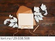 Empty kraft sheet of paper with pensil flat lay mockup for your art, picture or hand lettering composition copy space, top view. Autumn composition made of white leaves on dark brown wooden backgound. Стоковое фото, фотограф Happy Letters / Фотобанк Лори