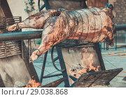 Купить «Сarcass of whole bull roasting on spit», фото № 29038868, снято 17 октября 2018 г. (c) Яков Филимонов / Фотобанк Лори