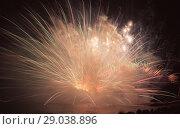 Купить «Colorful fireworks on night sky», фото № 29038896, снято 22 июля 2017 г. (c) Яков Филимонов / Фотобанк Лори