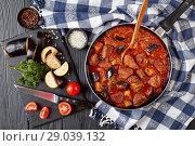 Купить «Aubergine Beef Stew in a skillet», фото № 29039132, снято 10 августа 2018 г. (c) Oksana Zh / Фотобанк Лори