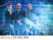 Купить «Composite image of confident colleagues standing against white background», фото № 29042440, снято 20 октября 2018 г. (c) Wavebreak Media / Фотобанк Лори