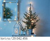 Купить «Christmas decoration on background white wall», фото № 29042456, снято 27 октября 2017 г. (c) Майя Крученкова / Фотобанк Лори