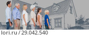 Купить «Family generations descending in height in front of house drawing sketch», фото № 29042540, снято 20 октября 2018 г. (c) Wavebreak Media / Фотобанк Лори