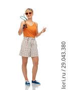 Купить «teenager with badminton rackets and shuttlecock», фото № 29043380, снято 30 июня 2018 г. (c) Syda Productions / Фотобанк Лори