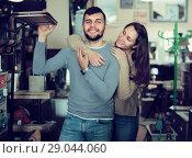 Купить «couple in antique furnishings store», фото № 29044060, снято 9 ноября 2017 г. (c) Яков Филимонов / Фотобанк Лори