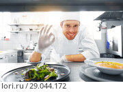 Купить «happy male chef cooking food at restaurant kitchen», фото № 29044172, снято 2 апреля 2017 г. (c) Syda Productions / Фотобанк Лори