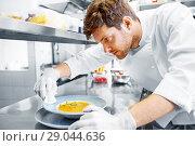 Купить «male chef cooking food at restaurant kitchen», фото № 29044636, снято 2 апреля 2017 г. (c) Syda Productions / Фотобанк Лори