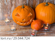 Купить «jack-o-lantern or carved halloween pumpkin», фото № 29044724, снято 18 сентября 2017 г. (c) Syda Productions / Фотобанк Лори