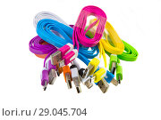 Купить «Color wires with plugs», фото № 29045704, снято 20 августа 2015 г. (c) Юрий Бизгаймер / Фотобанк Лори