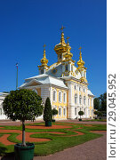 Купить «St. Petersburg. Peterhof. Magnificent restored Baroque Church of the Holy Apostles Peter and Paul with gilded traditional five domes against the blue sky and decorative lawns of the Upper Garden», фото № 29045952, снято 24 августа 2018 г. (c) Виктория Катьянова / Фотобанк Лори