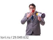 Купить «Funny businessman with loudspeaker isolated on white», фото № 29049632, снято 27 марта 2017 г. (c) Elnur / Фотобанк Лори