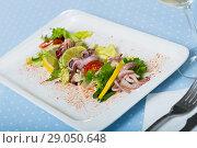 Купить «Boiled squid, mix salad and lime», фото № 29050648, снято 22 апреля 2019 г. (c) Яков Филимонов / Фотобанк Лори