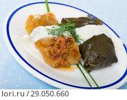 Купить «Close up of cabbage and grape rolls in leaves at plate with sour cream», фото № 29050660, снято 18 сентября 2018 г. (c) Яков Филимонов / Фотобанк Лори