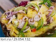 Купить «Salad with calamari, pineapple and lime», фото № 29054132, снято 24 сентября 2018 г. (c) Яков Филимонов / Фотобанк Лори