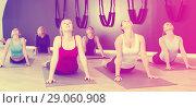 Купить «Women practicing yoga at gym», фото № 29060908, снято 29 января 2018 г. (c) Яков Филимонов / Фотобанк Лори