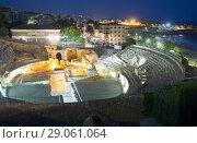 Купить «ancient Roman amphitheater in night time. Tarragona, Spain», фото № 29061064, снято 19 октября 2018 г. (c) Яков Филимонов / Фотобанк Лори