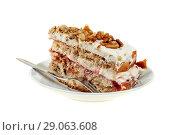 Купить «Pie of delicious cake with apple and whipped cream filling», фото № 29063608, снято 18 февраля 2019 г. (c) Игорь Бородин / Фотобанк Лори
