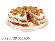 Купить «Delicious cake with apple and whipped cream filling», фото № 29063636, снято 18 февраля 2019 г. (c) Игорь Бородин / Фотобанк Лори