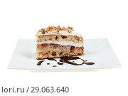 Купить «Pie of delicious cake with apple and whipped cream filling», фото № 29063640, снято 18 февраля 2019 г. (c) Игорь Бородин / Фотобанк Лори