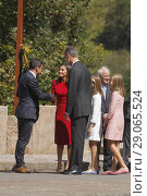Купить «King Felipe VI of Spain, Queen Letizia of Spain, Crown Princess Leonor, Princess Sofia attend the Centenary of the creation of the National Park of Covadonga...», фото № 29065524, снято 8 сентября 2018 г. (c) age Fotostock / Фотобанк Лори