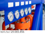 Купить «Three gauge on the dashboard of industrial compressor.», фото № 29065856, снято 18 октября 2017 г. (c) Андрей Радченко / Фотобанк Лори