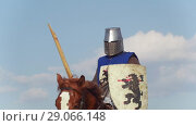 Купить «A man in knight's armor and a blue robe riding a horse rides at the festival of the middle Ages. The background is a blue sky and an old historical building», видеоролик № 29066148, снято 30 мая 2020 г. (c) Константин Шишкин / Фотобанк Лори