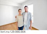 Купить «happy couple at new home», фото № 29066664, снято 4 июня 2017 г. (c) Syda Productions / Фотобанк Лори