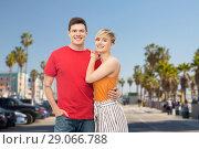 Купить «happy couple hugging», фото № 29066788, снято 30 июня 2018 г. (c) Syda Productions / Фотобанк Лори