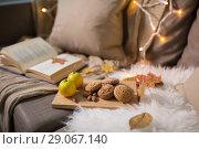 Купить «lemons, book, almond and oatmeal cookies on sofa», фото № 29067140, снято 15 ноября 2017 г. (c) Syda Productions / Фотобанк Лори