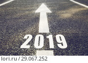 Купить «road marking in form of 2019 year and arrow», фото № 29067252, снято 10 февраля 2018 г. (c) Syda Productions / Фотобанк Лори
