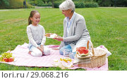 Купить «grandmother and granddaughter at picnic in park», видеоролик № 29068216, снято 24 августа 2018 г. (c) Syda Productions / Фотобанк Лори