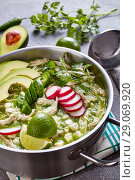 Купить «Chicken Pozole Verde in a metal casserole», фото № 29069920, снято 16 августа 2018 г. (c) Oksana Zh / Фотобанк Лори