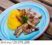 Купить «Grilled lamb with mashed jacket potato and mustard at plate with carrots», фото № 29070288, снято 25 сентября 2018 г. (c) Яков Филимонов / Фотобанк Лори