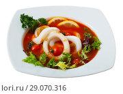 Купить «Spicy tomato soup with squids and greens in a white bowl», фото № 29070316, снято 19 сентября 2018 г. (c) Яков Филимонов / Фотобанк Лори