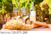 Купить «glass of White wine ripe grapes and bread on table in vineyard», фото № 29071280, снято 19 октября 2018 г. (c) Татьяна Яцевич / Фотобанк Лори