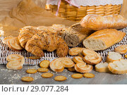 Купить «Assortment of fresh bread and bakery products», фото № 29077284, снято 30 января 2018 г. (c) Яков Филимонов / Фотобанк Лори