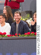 Купить «Real Madrid's Sergio Ramos attend to the quarter final match of the Mutua Madrid Open tennis tournament between Belgian David Goffin and Spanish Rafael...», фото № 29081532, снято 12 мая 2017 г. (c) age Fotostock / Фотобанк Лори