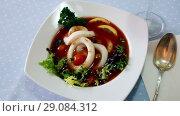 Купить «Image of tomato soup with squid on the plate indoors.», видеоролик № 29084312, снято 28 августа 2018 г. (c) Яков Филимонов / Фотобанк Лори