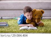 Купить «Small boy reading books at home», фото № 29084404, снято 24 июня 2017 г. (c) Elnur / Фотобанк Лори