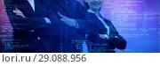 Купить «Composite image of smiling colleagues with arms crossed standing against white background», фото № 29088956, снято 18 июня 2019 г. (c) Wavebreak Media / Фотобанк Лори