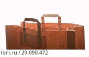 Купить «Craft bag pack shopper, isolated on white background», фото № 29090472, снято 15 сентября 2018 г. (c) Элина Гаревская / Фотобанк Лори