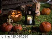 Купить «Pumpkin and candy of Halloween», фото № 29090580, снято 8 сентября 2018 г. (c) Типляшина Евгения / Фотобанк Лори