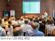 Купить «Business speaker giving a talk at business conference event.», фото № 29092452, снято 3 июля 2014 г. (c) Matej Kastelic / Фотобанк Лори
