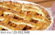 Купить «close up of apple pie slicing by knife», видеоролик № 29092848, снято 7 сентября 2018 г. (c) Syda Productions / Фотобанк Лори