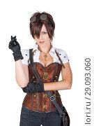 Купить «steampunk woman wearing vintage corset and goggles», фото № 29093060, снято 23 августа 2015 г. (c) katalinks / Фотобанк Лори