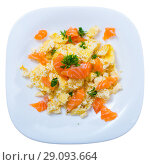 Купить «Top view of salmon omelette», фото № 29093664, снято 19 сентября 2018 г. (c) Яков Филимонов / Фотобанк Лори