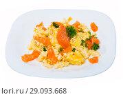 Купить «Smoked salmon omelette», фото № 29093668, снято 22 октября 2018 г. (c) Яков Филимонов / Фотобанк Лори